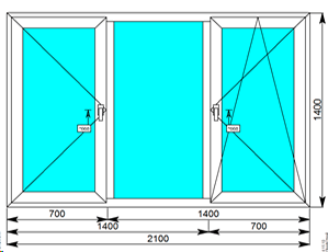 Окно Montblanc Eco 2100х1400 с двумя створками