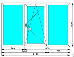 Окно Rehau Grazio 2100х1400 поворотно-откидная створка