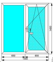 Окна Rehau Grazio 1300х1400 одностворчатое