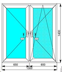 Окна Rehau Grazio 1300х1400 двухстворчатое
